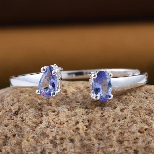 Tanzanite (Ovl) Open Ring in Sterling Silver 0.500 Ct.