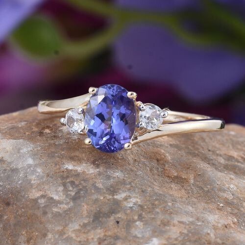 9K Y Gold Tanzanite (Ovl 1.15 Ct), Natural Cambodian Zircon Ring 1.500 Ct.