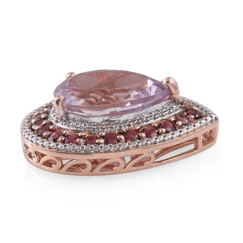 AAA Rose De France Amethyst (Pear 7.50 Ct), AAA Rhodolite Garnet Pendant in Rose Gold Overlay Sterling Silver 9.500 Ct.