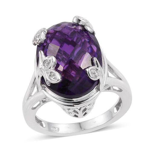 Lusaka Amethyst (Ovl), White Topaz Ring in Platinum Overlay Sterling Silver 10.500 Ct.