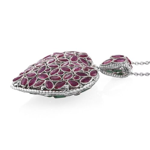 AAA African Ruby (MRQ), AAA Brazilian Emerald Reversable Heart Pendant with Chain in Platinum Overlay Sterling Silver 11.450 Ct.