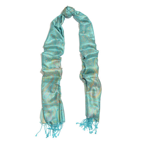 SILK MARK - 100% Superfine Silk Green and Multi Colour Jacquard Scarf with Fringes (Size 180x70 Cm) (Weight 125 - 140 Grams)