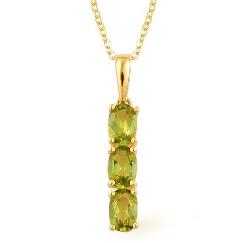 AA Hebei Peridot (Ovl) Trilogy Pendant With Chain in Yellow Gold Overlay Sterling Silver 1.500 Ct.