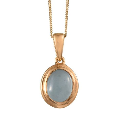 Espirito Santo Aquamarine (Ovl) Solitaire Pendant With Chain in 14K Gold Overlay Sterling Silver 2.250 Ct.