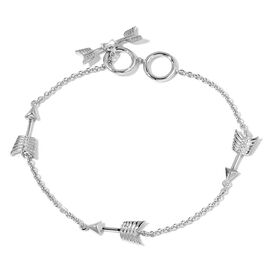 LucyQ Arrow Station Bracelet (Size 7.5) in Rhodium Plated Sterling Silver