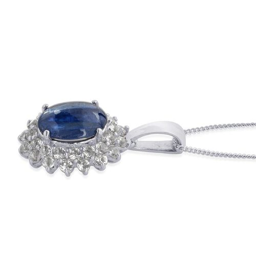 Himalayan Kyanite (Ovl 1.25 Ct), White Topaz Pendant With Chain in Platinum Overlay Sterling Silver 2.250 Ct.