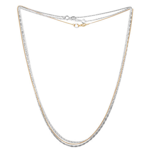 Set of 3 - Yellow Gold Overlay and Sterling Silver Curb, Singapore and Rolo Chain (Size 18), Silver wt 4.50 Gms.