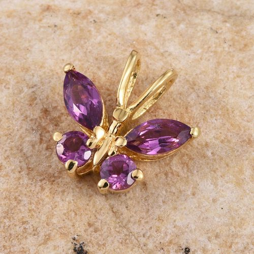 Rare Mozambique Grape Colour Garnet (Mrq) Butterfly Pendant in 14K Gold Overlay Sterling Silver 0.750 Ct.