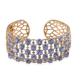 AA Tanzanite (Ovl), Diamond Cuff Bangle (Size 7.5) in 14K Gold Overlay Sterling Silver 13.520 Ct.