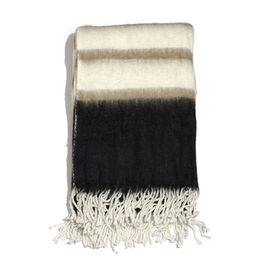 Mohair Cream, Black and Multi Colour Stripe Pattern Throw (Size 150x125 Cm)