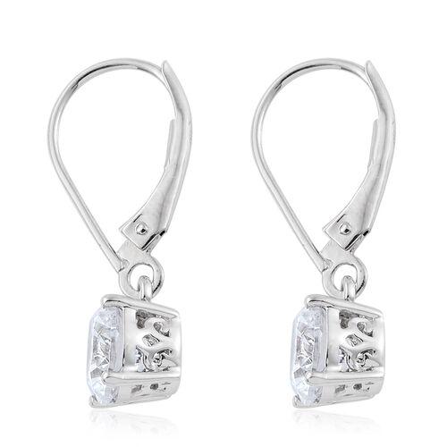 9K White Gold Lever Back Earrings Made with SWAROVSKI ZIRCONIA