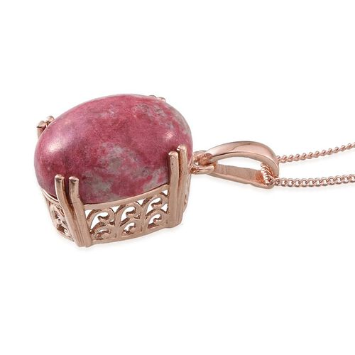 Norwegian Thulite (Ovl) Pendant With Chain in Rose Gold Overlay Sterling Silver 11.000 Ct.