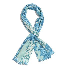 100% Natural Bamboo Fabric Blue and and White Colour Floral and Leaves Pattern Turquoise Colour Scarf (Size 180x50 Cm)