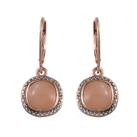Mitiyagoda Peach Moonstone (Cush), Diamond Earrings in Rose Gold Overlay Sterling Silver 5.020 Ct.