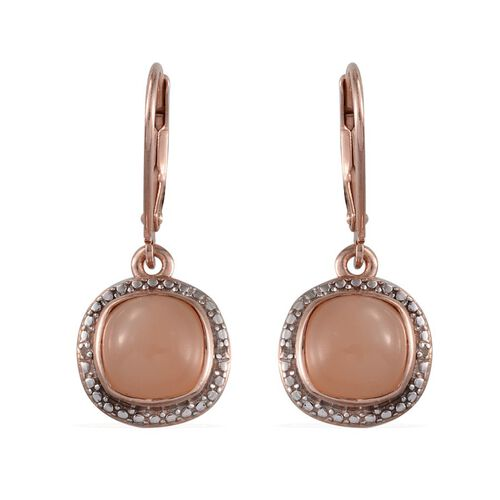 Mitiyagoda Peach Moonstone (Cush), Diamond Earrings in Rose Gold Overlay Sterling Silver 5.020 Ct.