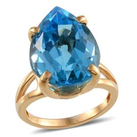 Electric Swiss Blue Topaz (Pear) Solitaire Ring in 14K Gold Overlay Sterling Silver 17.000 Ct.