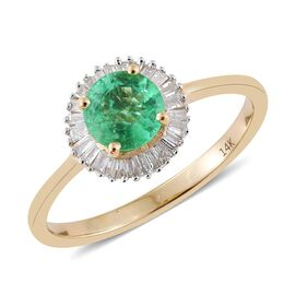 14K Yellow Gold 0.75 Carat Boyaca Colombian Emerald Halo Ring with Diamond