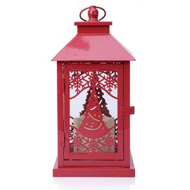 Christmas Tree and Snowflake Pattern Red Colour Lantern with Removable LED Candle (Size 28.5x14.5x14.5 Cm)