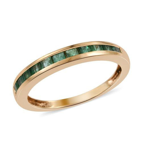 Kagem Zambian Emerald (Sqr) Half Eternity Band Ring in 14K Gold Overlay Sterling Silver 0.750 Ct.