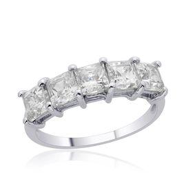 J Francis - Platinum Overlay Sterling Silver (Sqr) 5 Stone Ring Made with SWAROVSKI ZIRCONIA 3.550 Ct.