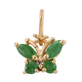 Kagem Zambian Emerald (Mrq), White Topaz Butterfly Pendant in 14K Gold Overlay Sterling Silver
