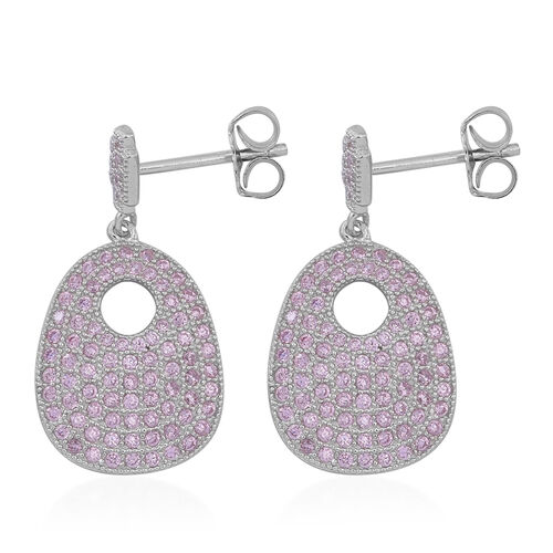 ELANZA AAA Simulated Pink Sapphire (Rnd) Earrings (with Push Back) in Rhodium Plated Sterling Silver