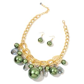 Simulated Green Pearl and Simulated Green Diamond Necklace (Size 18 with 3 inch Extender) and Hook Earrings in Gold Tone with Stainless Steel
