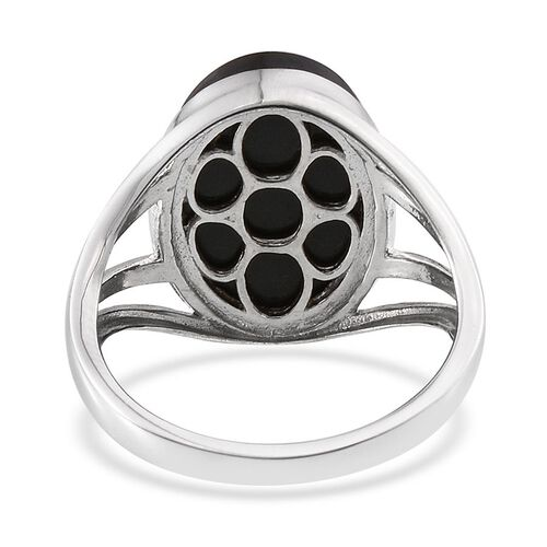 Black Jade (Ovl) Solitaire Ring in Platinum Overlay Sterling Silver 9.750 Ct.