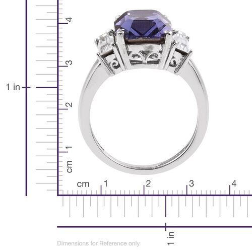 Crystal from Swarovski - Tanzanite Colour Crystal (Oct), White Crystal Ring in ION Plated Platinum Bond