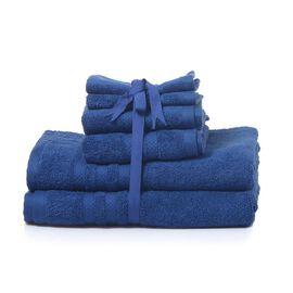 Set of 6 - 100% Cotton Blue Colour 2 Bath Towels (Size 140x75 Cm), 2 Hand Towels (Size 70x40 Cm) and 2 Face Towels (Size 33x33 Cm)