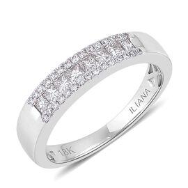 ILIANA 18K W Gold Diamond (Sqr) Band Ring 0.500 Ct.