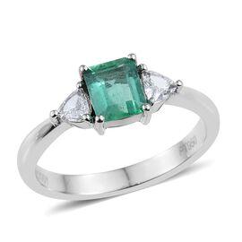 RHAPSODY 950 Platinum AAAA Boyaca Colombian Emerald (Oct 0.70 Ct), Diamond (SI G-H) Ring 1.000 Ct.