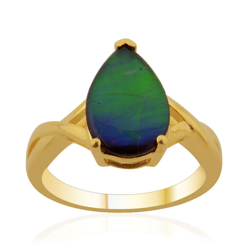 Canadian Ammolite (Pear) Solitaire Ring in 14K Gold Overlay Sterling Silver 2.250 Ct.