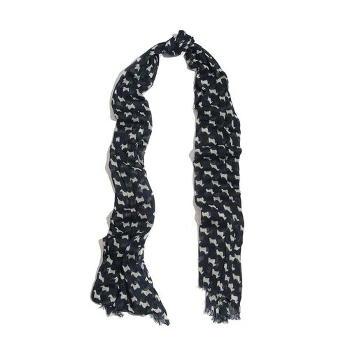 50% Wool and 50% Modal Goat Pattern Navy Blue and White Colour Woven Scarf (Size 175x70 Cm)