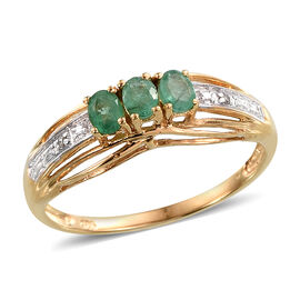 Kagem Zambian Emerald (Ovl), Diamond Ring in 14K Gold Overlay Sterling Silver