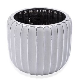 Silver Colour Stoneware Ceramic Handcrafted Flower Pot (Size 18x16 Cm)