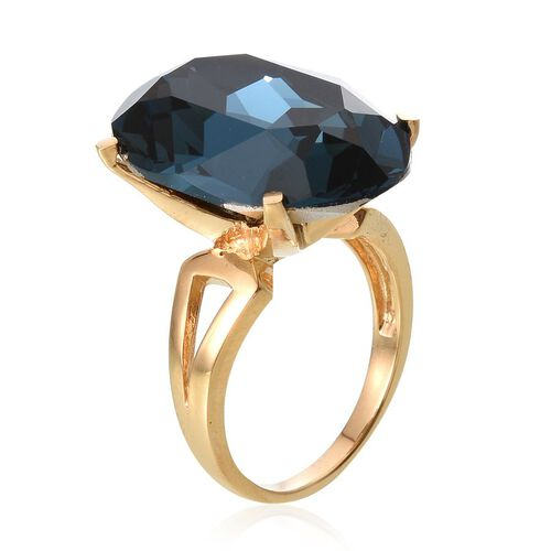 Crystal from Swarovski - Montana Crystal (Ovl) Ring in ION Plated 18K Yellow Gold Bond 26.500 Ct.