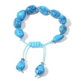 Blue Howlite Bracelet (Size 7.5 Adjustable) in Silver Tone 150.000 Ct.