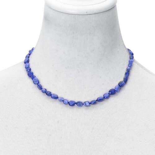Hand Knotted Himalayan Kyanite Necklace (Size 18 with 2 inch Extender) in Rhodium Plated Sterling Silver 100.000 Ct.