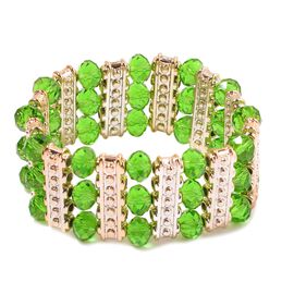 Green Glass and Simulated Stones Stretchable Bracelet (Size 7.5) in Gold Tone