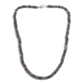 DOD - Rare Hand Faceted AAA Labradorite Necklace (Size 20) in Rhodium Plated Sterling Silver 126.400 Ct.