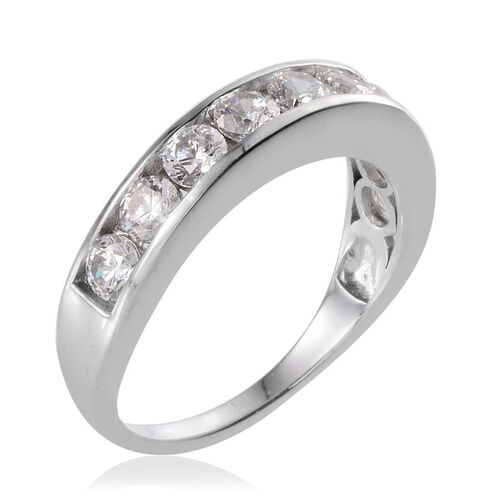 J Francis - Platinum Overlay Sterling Silver (Rnd) Half Eternity Band Ring Made With SWAROVSKI ZIRCONIA 1.890 Ct.