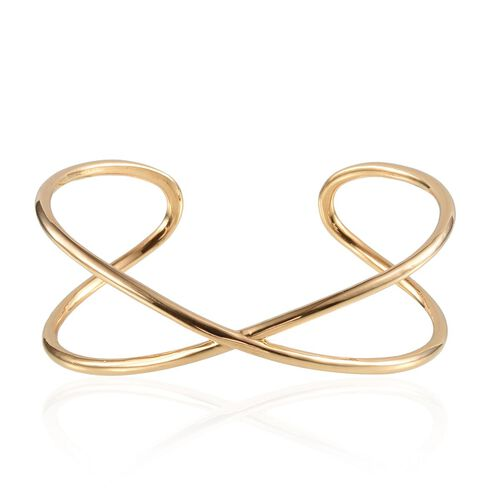 ION Plated 18K Yellow Gold Bond Cuff Bangle (Size 7.5)