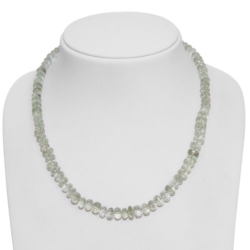 Green Amethyst (Rnd) Beads Necklace (Size 18) with Magnetic Lock in Rhodium Plated Sterling Silver 200.000 Ct.