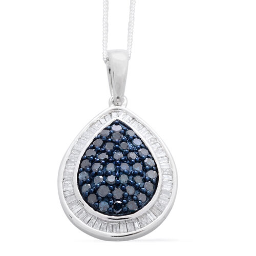 Blue Diamond (Rnd), White Diamond Pendant with Chain in Platinum Overlay Sterling Silver 1.000 Ct.