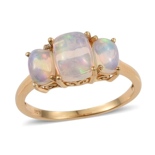 Ethiopian Opal (Cush 1.25 Ct) 3 Stone Ring in 14K Gold Overlay Sterling Silver 2.500 Ct.