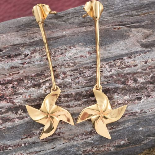 Origami Wind Mill Earrings (with Push Back) in 14K Gold Overlay Sterling Silver, Silver wt 4.00 Gms.
