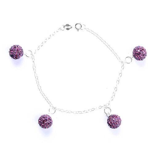 Purple Austrian Crystal Bracelet in Sterling Silver (Size 7.5)
