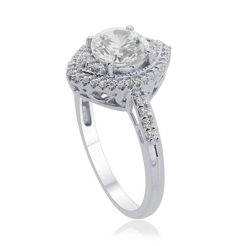 J Francis - Platinum Overlay Sterling Silver (Rnd) Ring Made with SWAROVSKI ZIRCONIA 2.482 Ct.