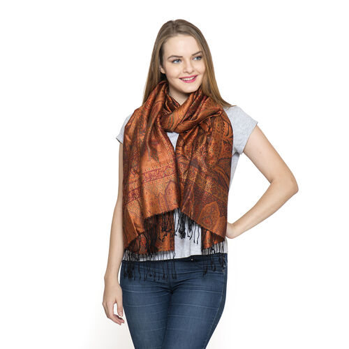 SILK MARK - 100% Superfine Silk Orange, Black and Multi Colour Jacquard Jamawar Scarf with Tassels (Size 180x70 Cm)